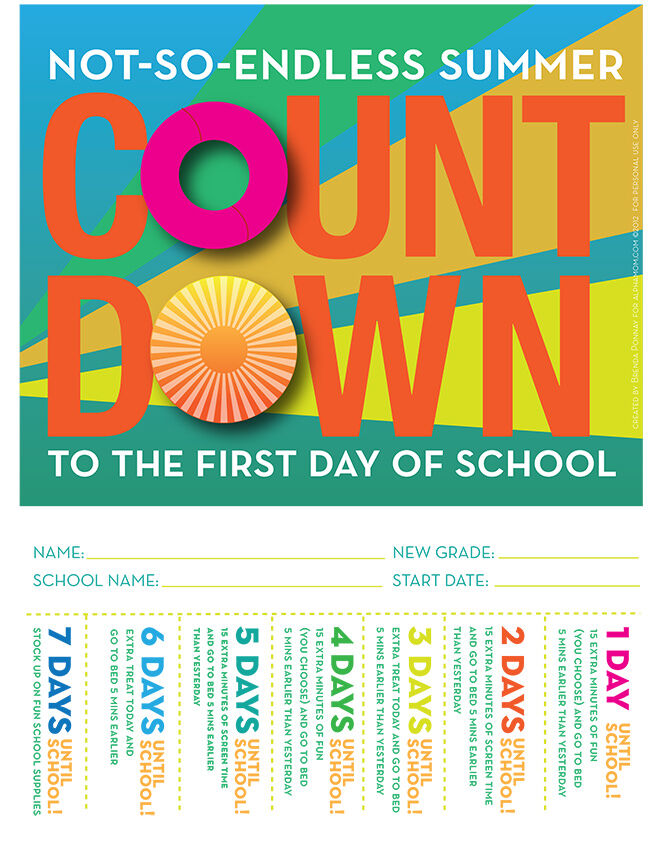 Create an activity countdown to celebrate going back to school.