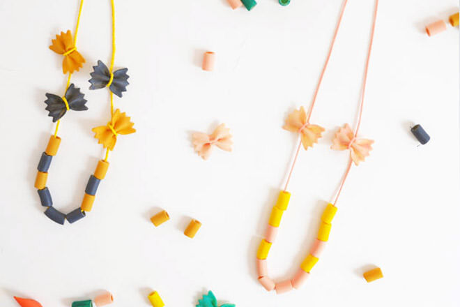 Bow tie pasta necklace