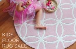 BugRugs Pink round kids floor rug