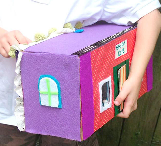 Cardboard bakery playhouse