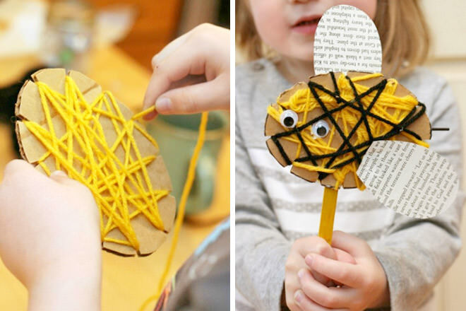 Cardboard bee and yarn craft