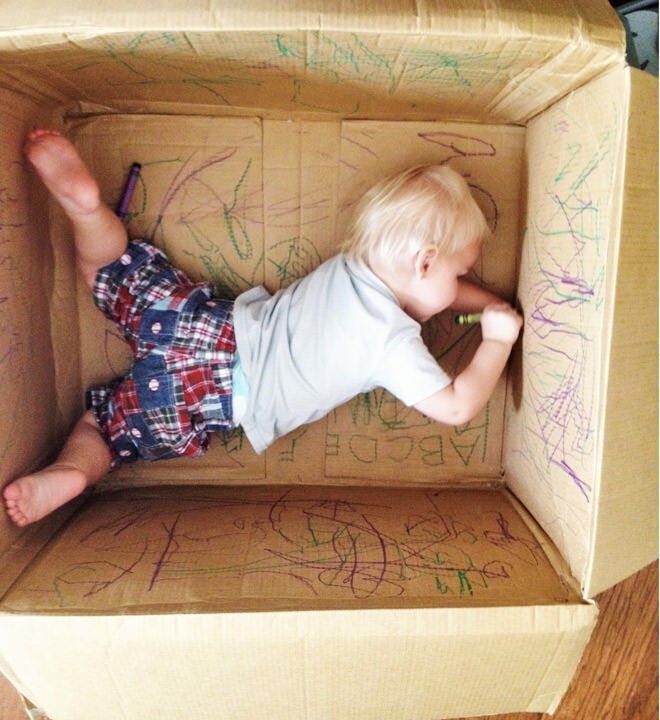 Cardboard box and crayon activity
