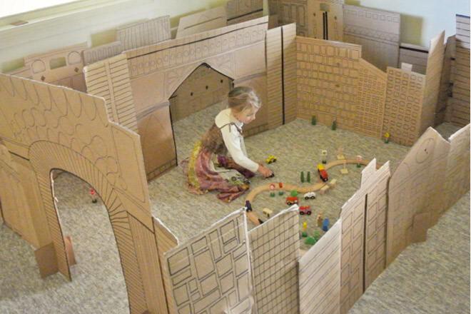 Cardboard city play fort