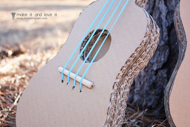 Cardboard guitar craft activity