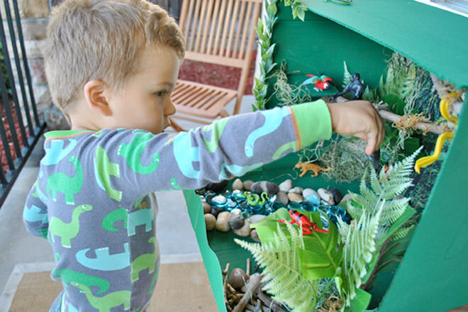 Cardboard sensory rainforest box