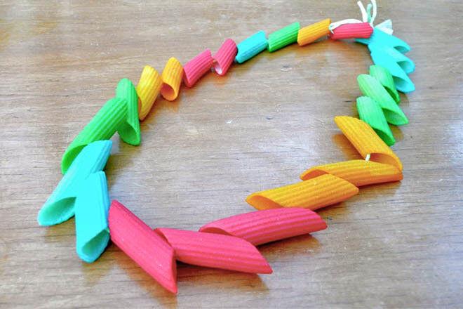 Coloured pasta necklace