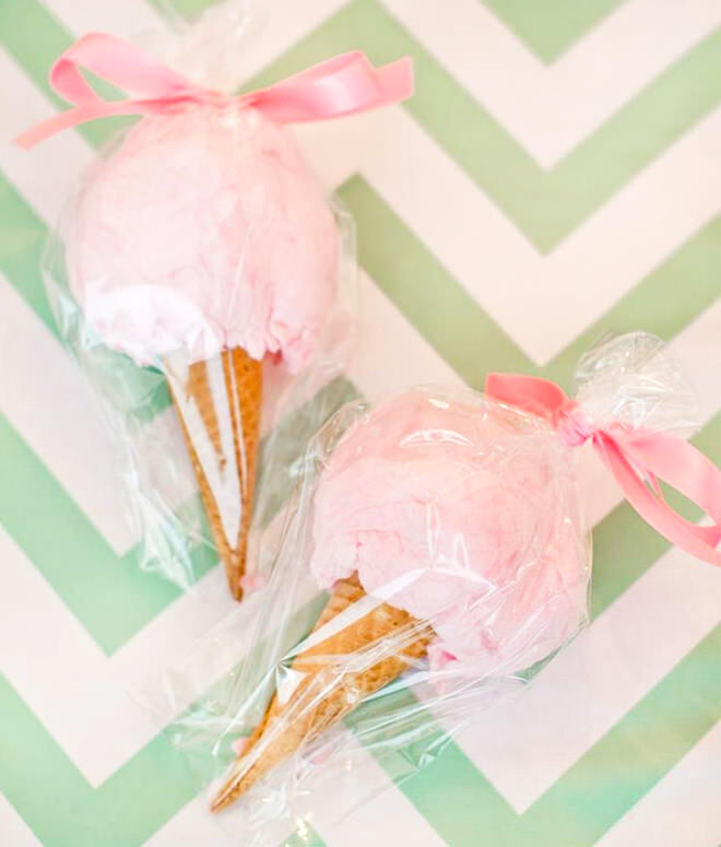 How to throw a deliciously fun ice cream party | Fairy floss cones