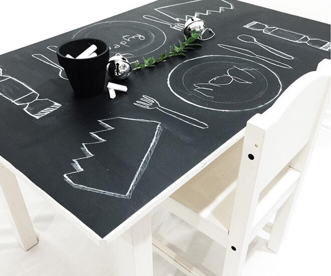 Kmart table and chairs transformed with chalked sheets