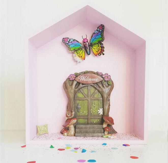 Kmart shadow box hack - transformed into a fairy door!