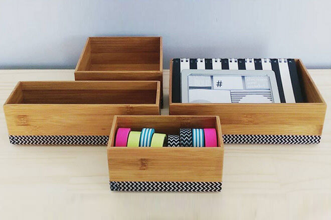 Add wash tape to Kmart Kitchen Drawers for fun storage boxes