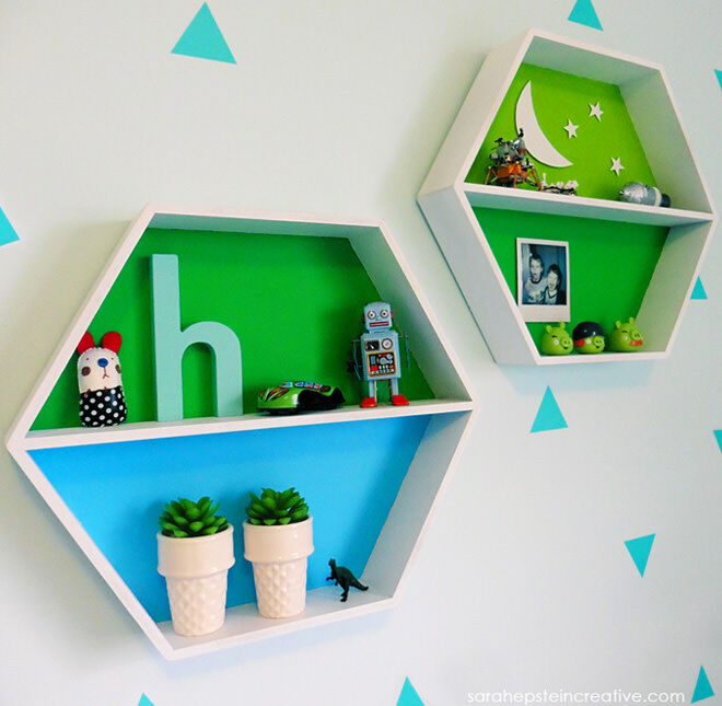 Kmart hexagon shelving hack for boys room