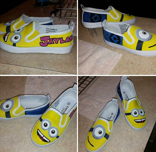 Kmart hack - Minion shoes, simply colour them in!