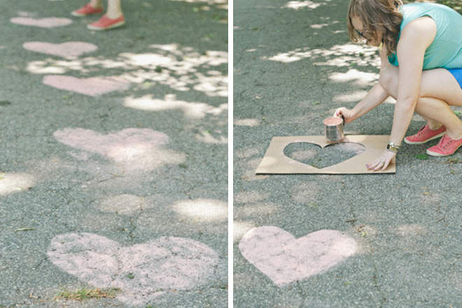 DIY love heart chalk templates