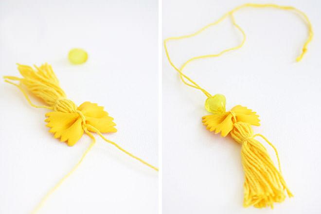 Yellow pasta pendants