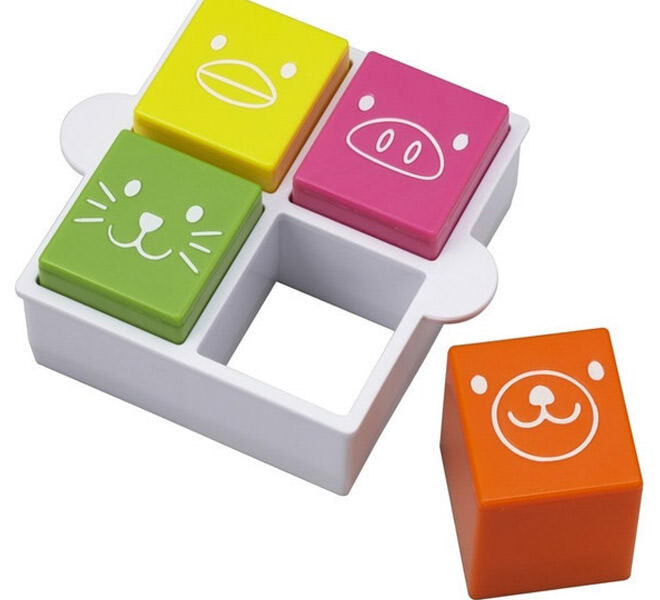 Square sandwich cutter and animal stamps