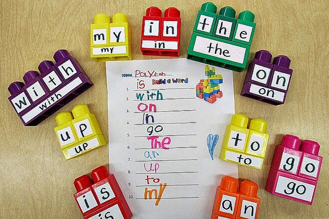 A fun game using Duplo to help kids learn their sight words