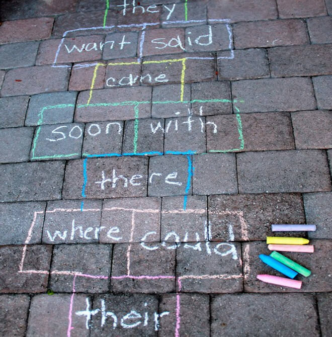 Learn your sight words with a game of hopscotch!