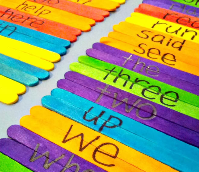 Paddle Pop game for learning sight words