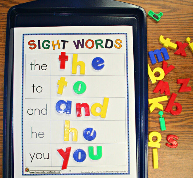 Use a cooking tray and magnetic letters as a fun way of learning sight words with magnets