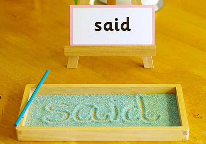 This sight word game lets kids write the word in coloured sand