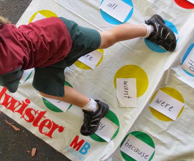 A fun game of Twister transforms into a sight words learning opportunity