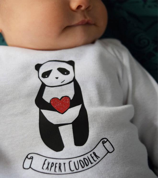 Valentine's Day panda heart onesie from Copper Pot Carpenter