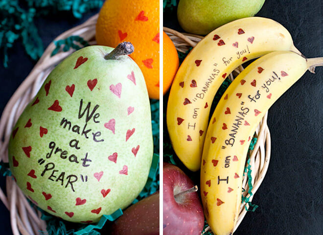 Sweet Valentine's Day messages for fruit in the lunch box