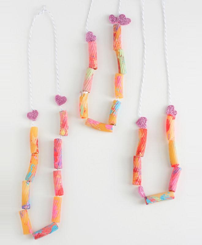Valentines pasta necklaces