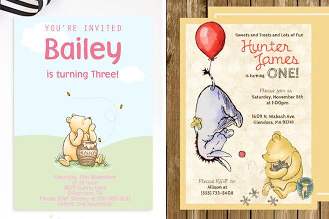 Winnie the Pooh Birthday Invitations