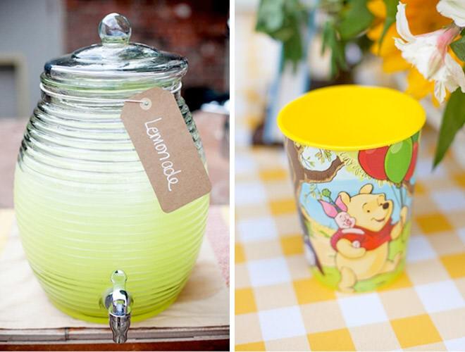 Winnie the Pooh party drinks - lemonade