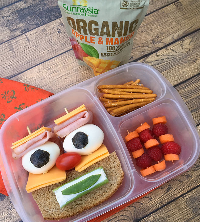Smiley face bento lunchbox recipe from the Lunchbox Dad
