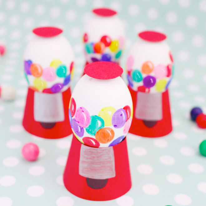 Vintage-style gum ball machine Easter eggs
