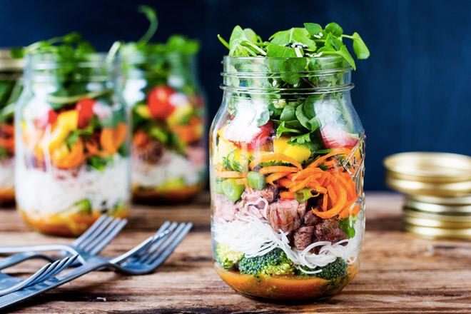 Thai noodle lunch salad jar recipe