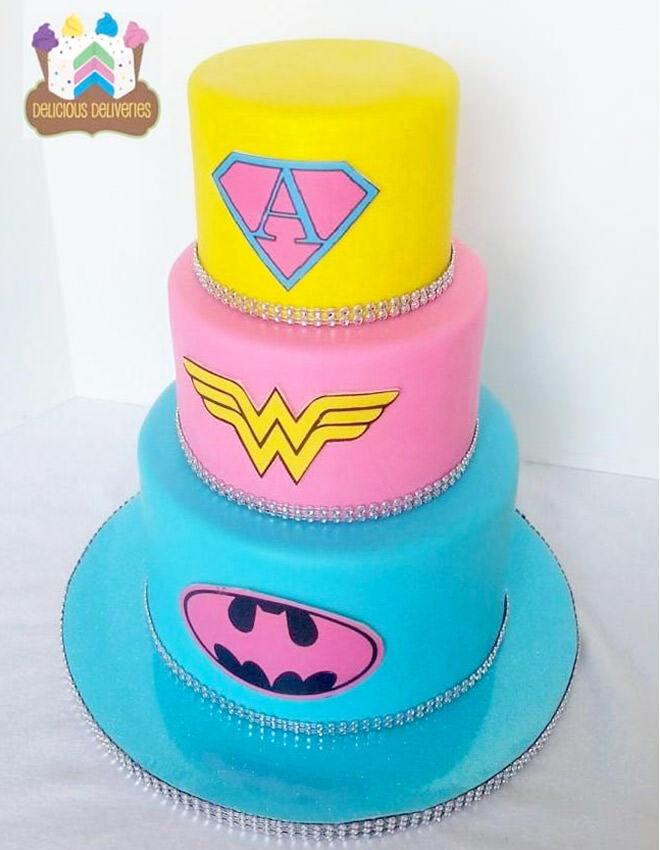Girls superhero birthday cake