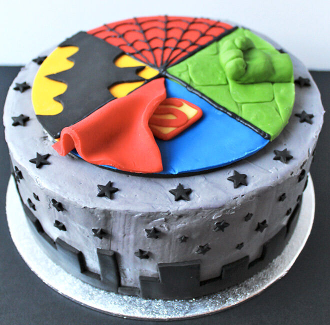 Four corners superhero cake