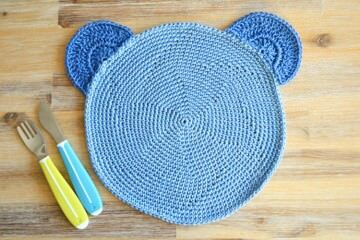 Kids crochet teddy bear placemat