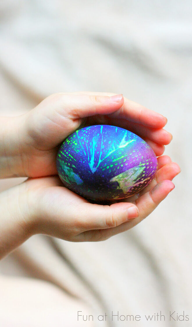 Tie dyed space-age Easter eggs
