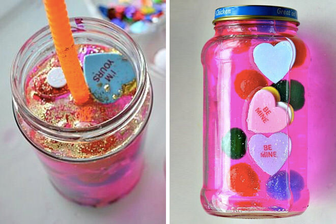Kids valentine activities sensory bottle