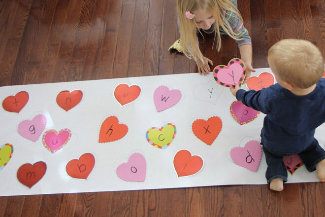 Kids valentine activity hurt matching game