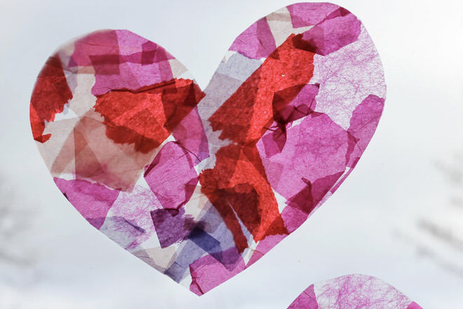 Kids valentine activity tissue paper stained glass heart
