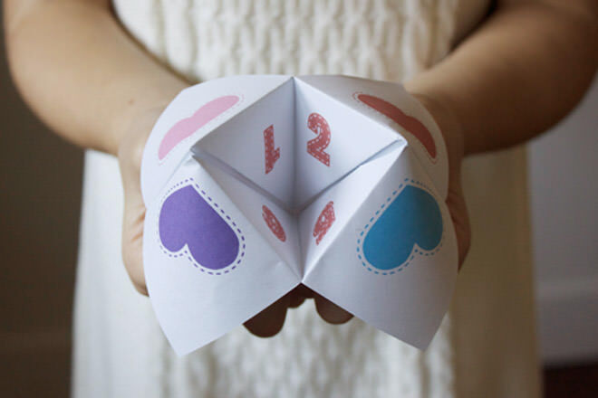 Kids valentine activity fortune teller printable