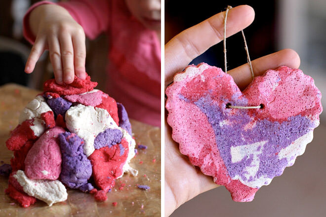 Kids valentine activity salt dough marbled heart