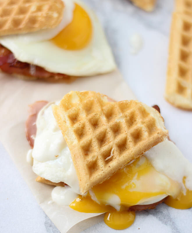 Heart-shaped waffle croque madame sliders