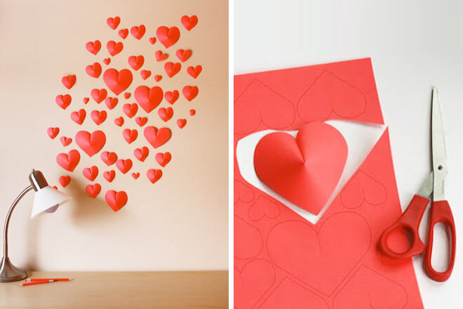 DIY wall of paper hearts