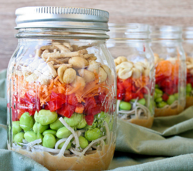 Lunch in a Jar. Healthy asian noodle salad you can make in advance and store in a jar. Perfect for working Mums.