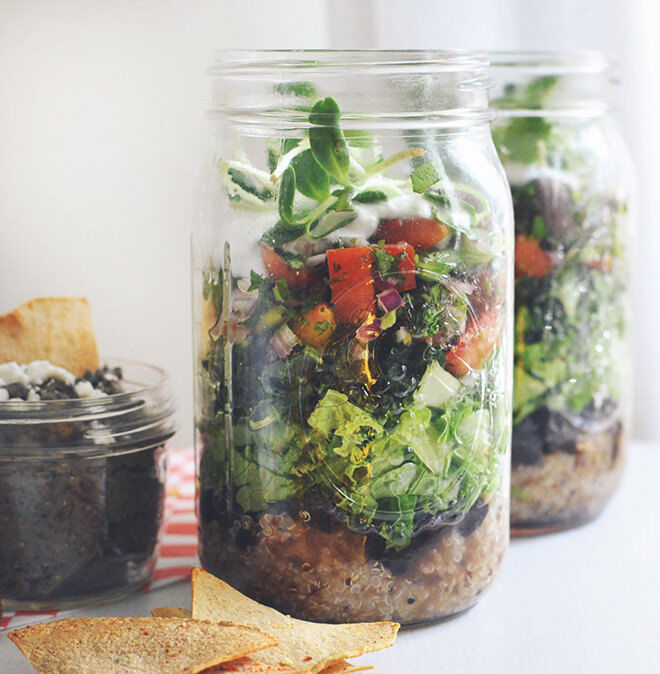 Lunch in a Jar. Take a healthy burrito to work with this superfood Burrito in a jar.