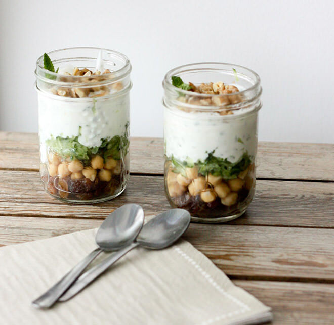 Lunch in a Jar. This Minty Yogurt Parfaits are the perfect working Mums healthy lunch.