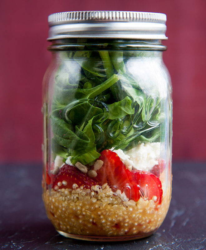Lunch in a Jar. Easy salads you can prepare in advance for a healthy work lunch.