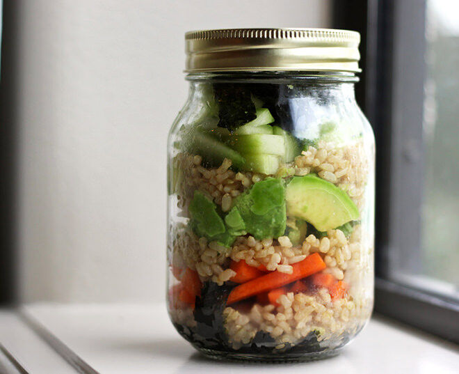 Lunch in a Jar. Deconstructed sushi that makes a perfect lunch working Mums.