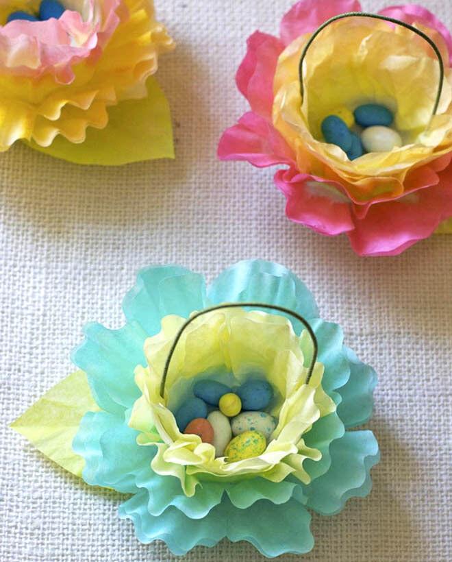 Coffee filter flower Easter baskets